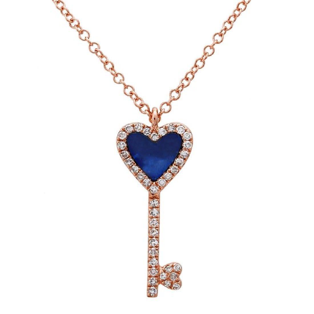 14KT Rose Gold Gemstone Pendant With Chain