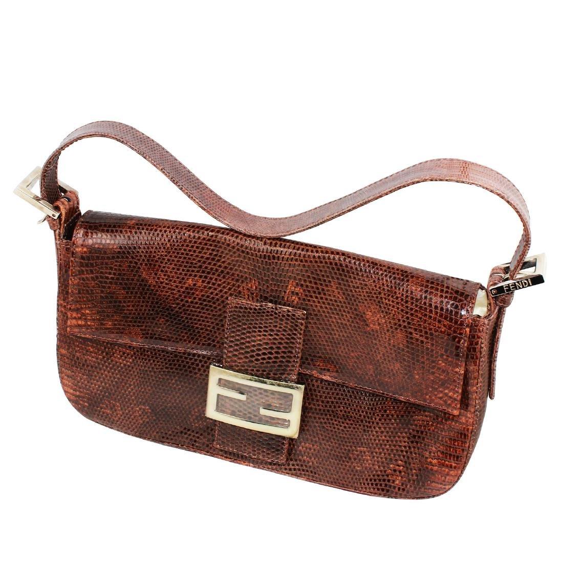 NEW Fendi Lizard Baguette Brown Handbag with Flap