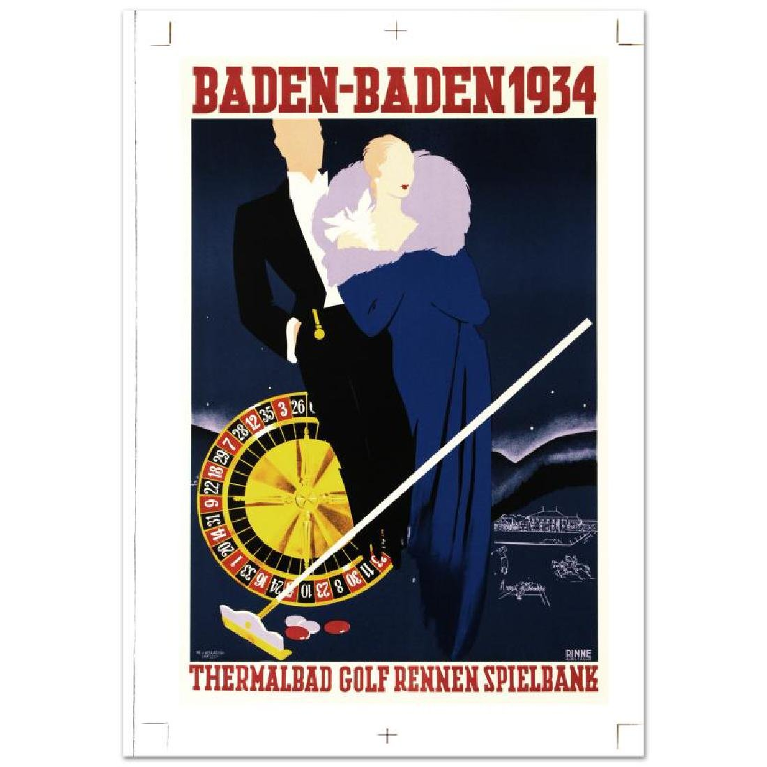 """Baden Baden"" Hand Pulled Lithograph by the RE Society"