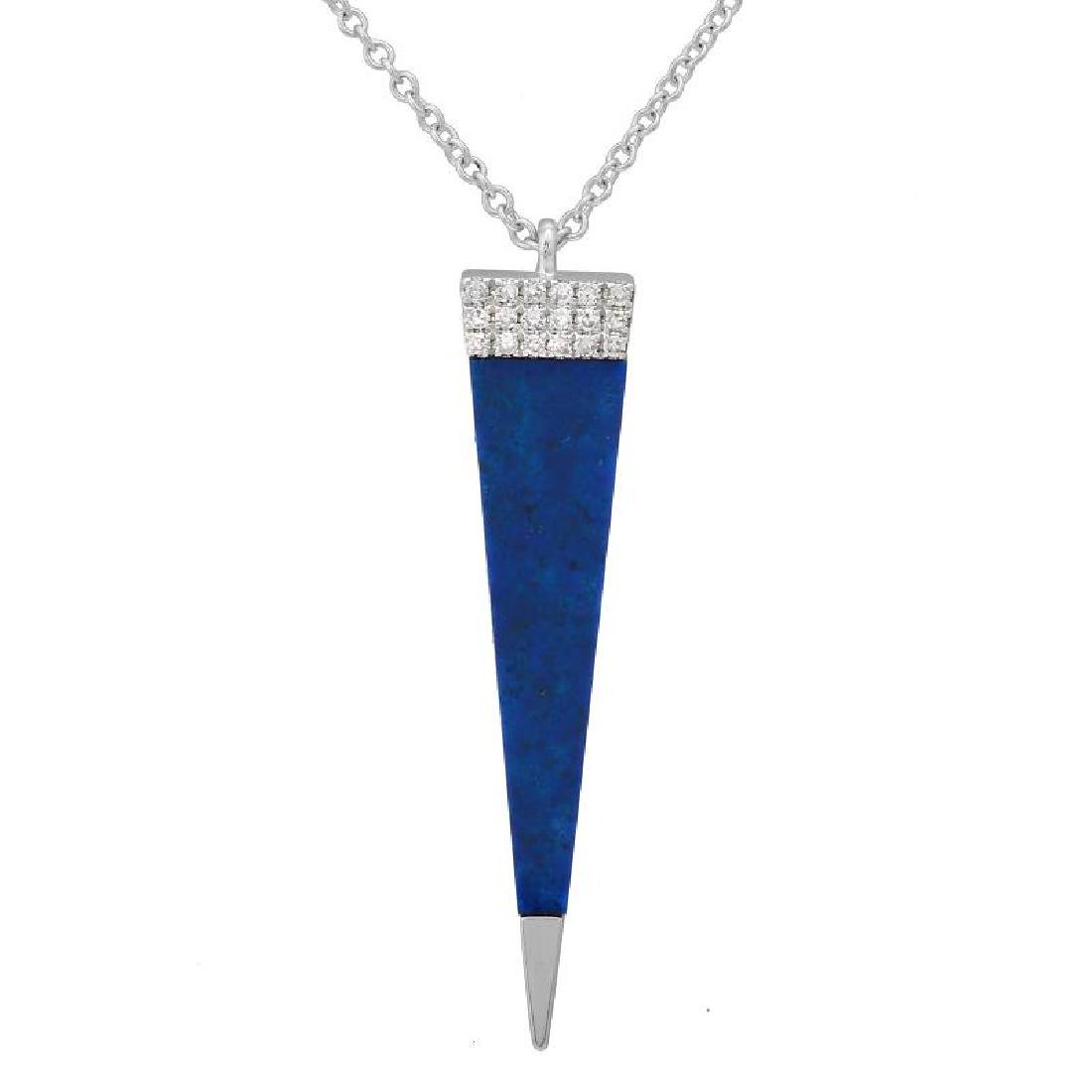 14KT White Gold Gemstone Pendant With Chain
