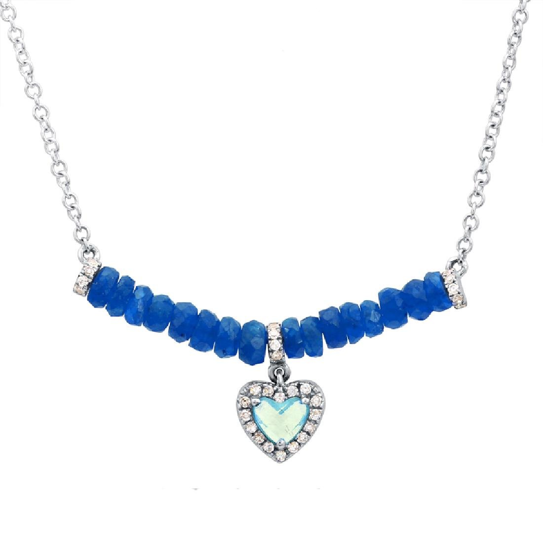 14KT White Gold Gemstone Necklace