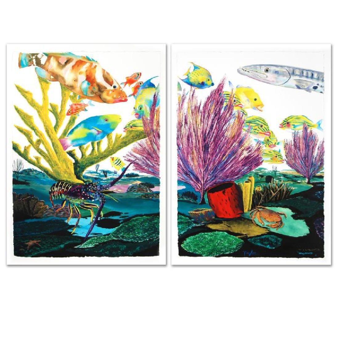 """""""Coral Reef Life"""" Limited Edition Giclee Diptych on - 3"""