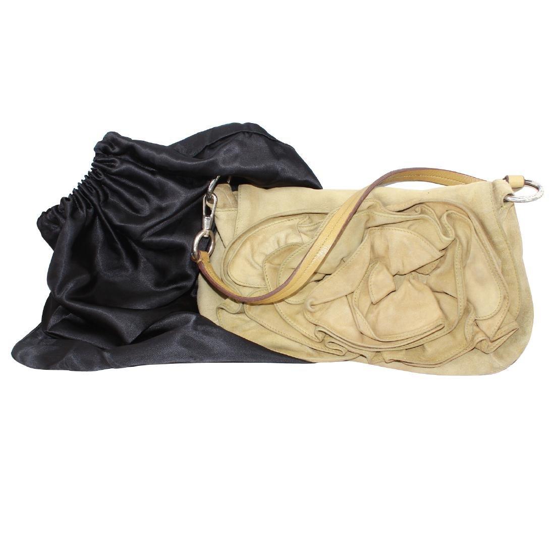 Yves Saint Laurent Nadja Rose Shoulder Bag Beige Suede