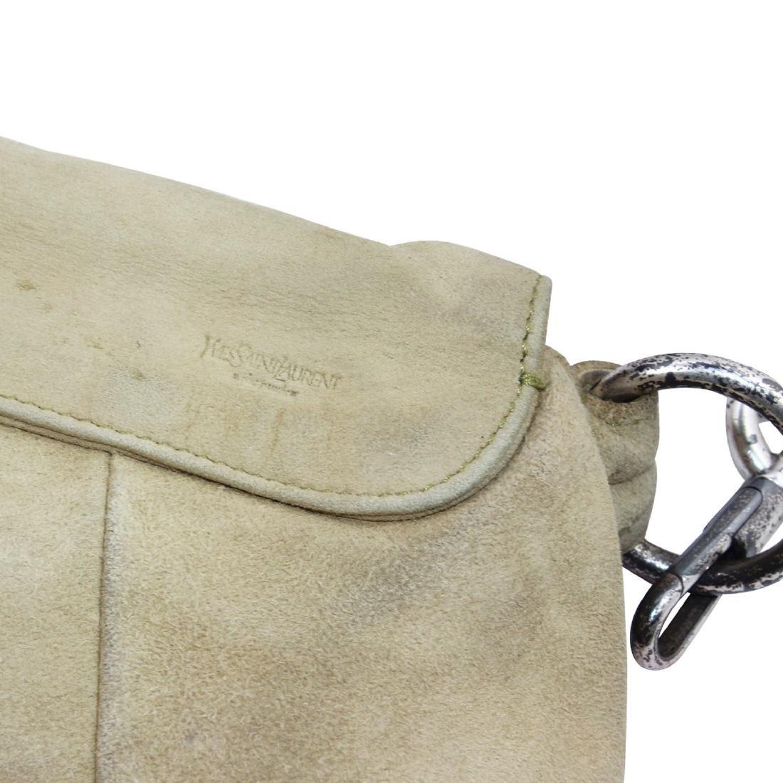 Yves Saint Laurent Nadja Rose Shoulder Bag Beige Suede - 2