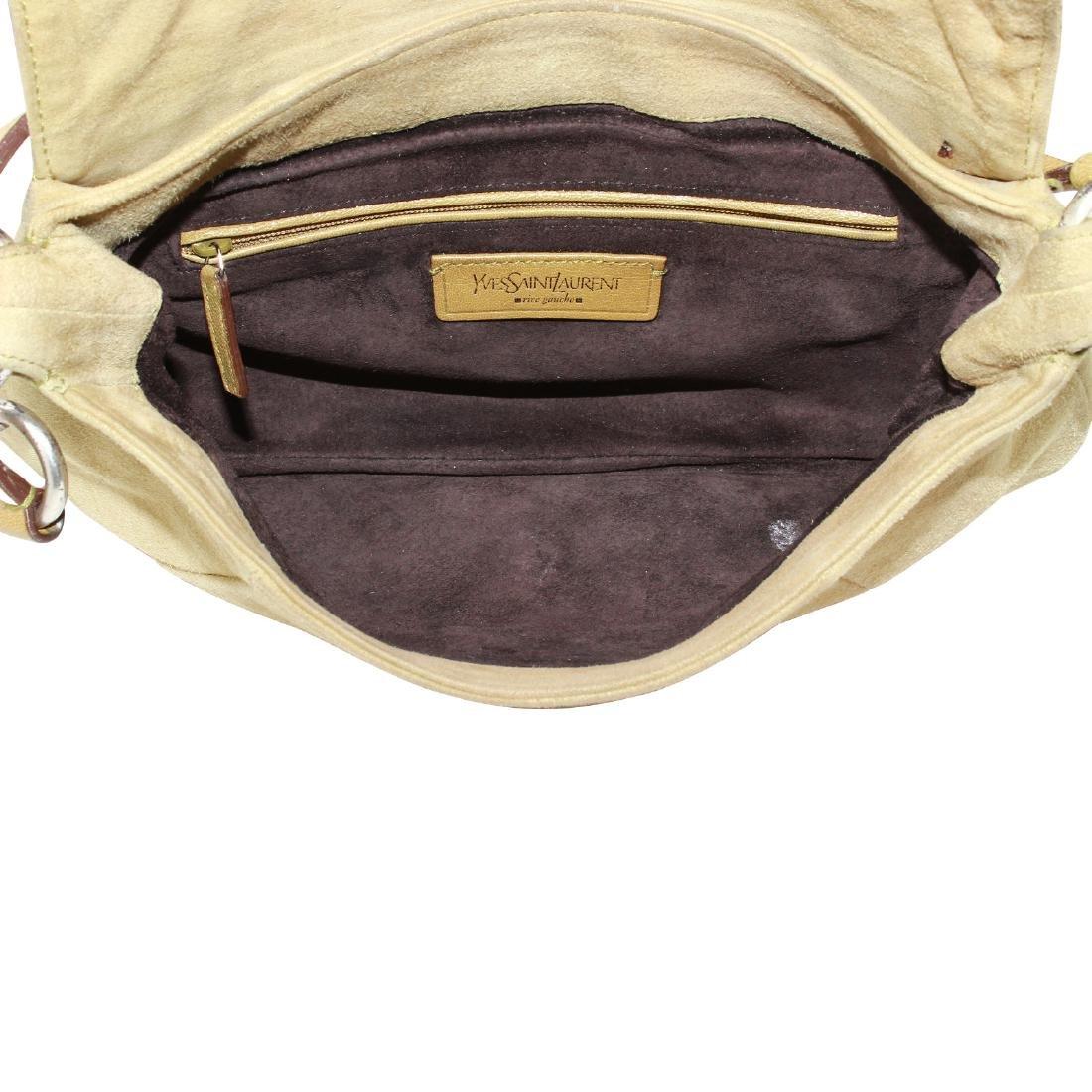 Yves Saint Laurent Nadja Rose Shoulder Bag Beige Suede - 3