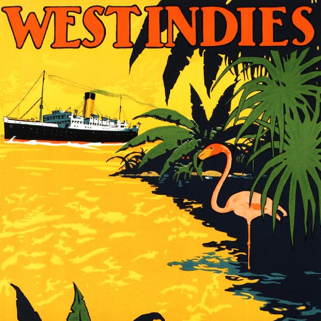 """""""White Star Lines/West Indies"""" Hand Pulled Lithograph - 2"""