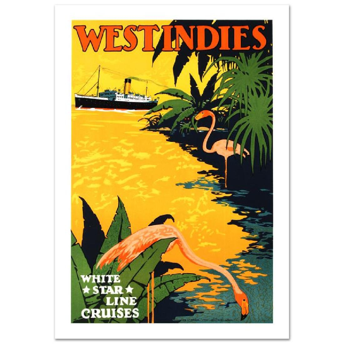 """""""White Star Lines/West Indies"""" Hand Pulled Lithograph - 3"""
