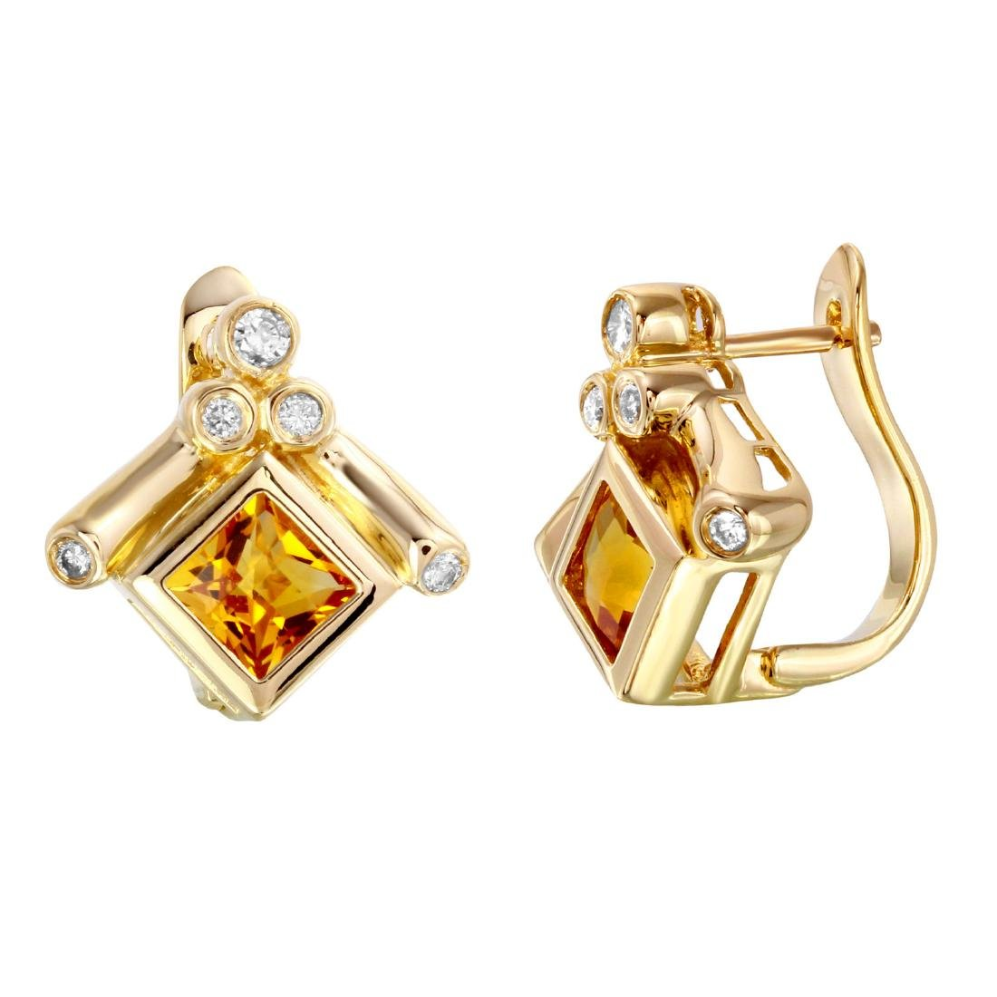 14KT Yellow Gold Citrine & Diamond Earrings - 2