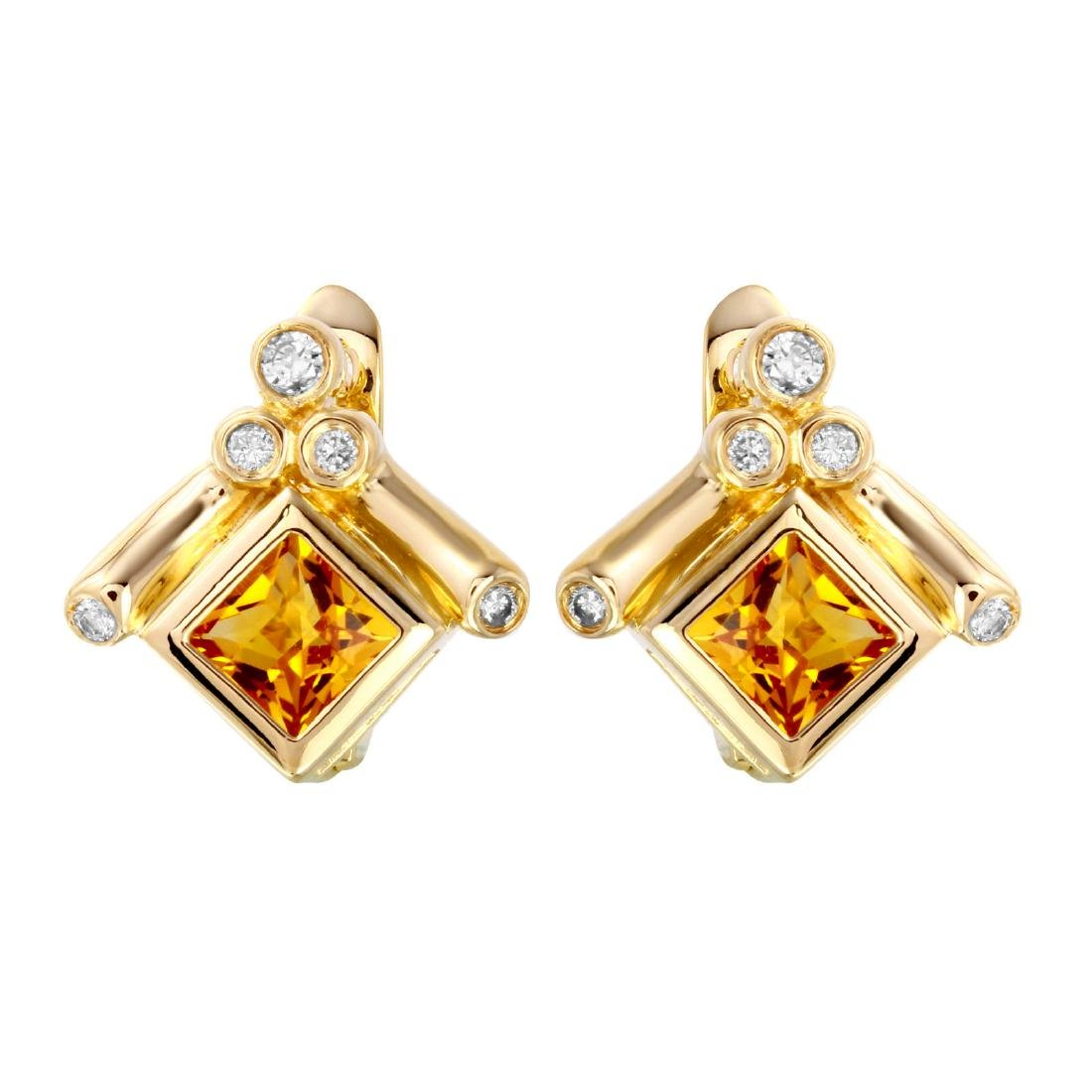 14KT Yellow Gold Citrine & Diamond Earrings - 3