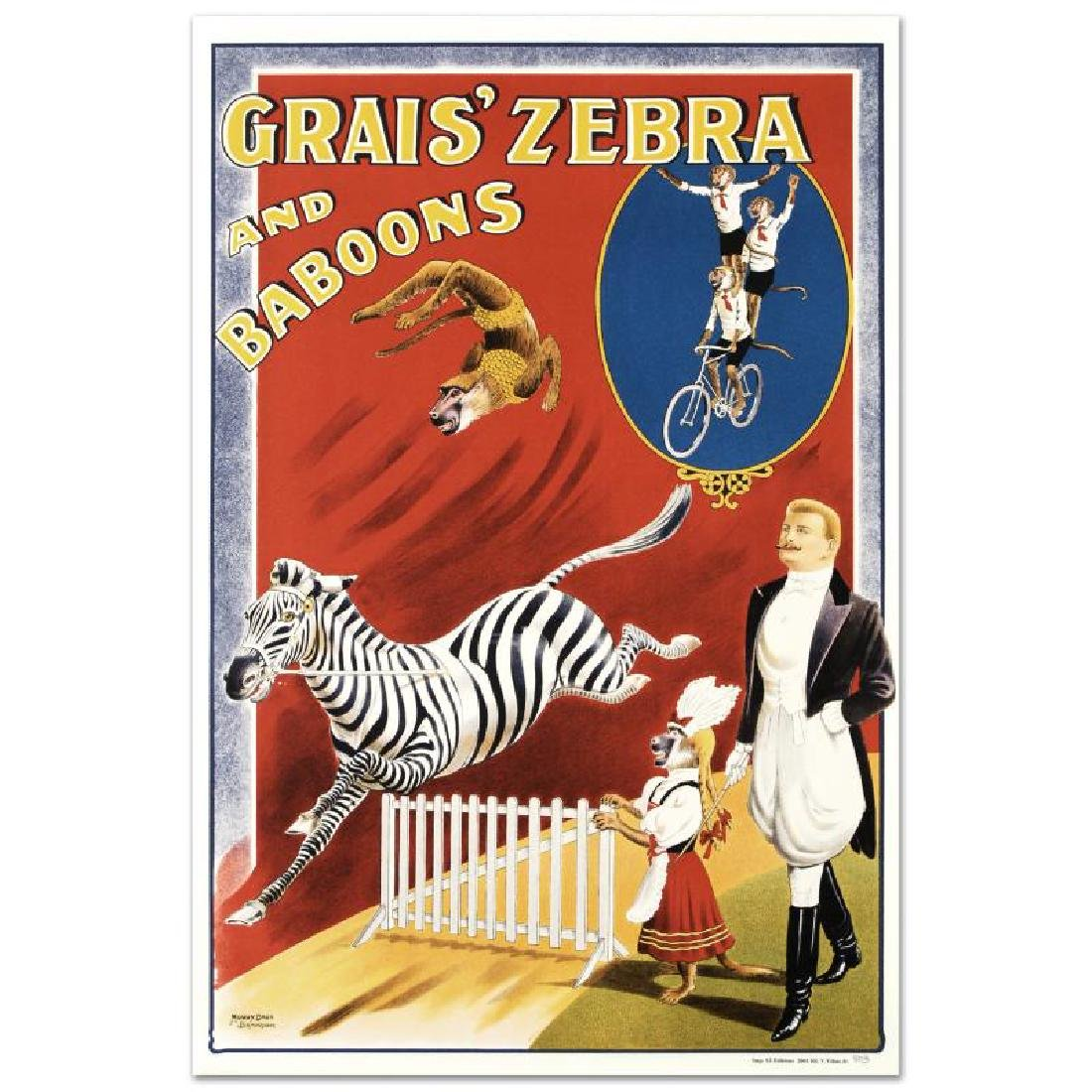 """Grais Zebra and Baboons"" Hand Pulled Lithograph by the"
