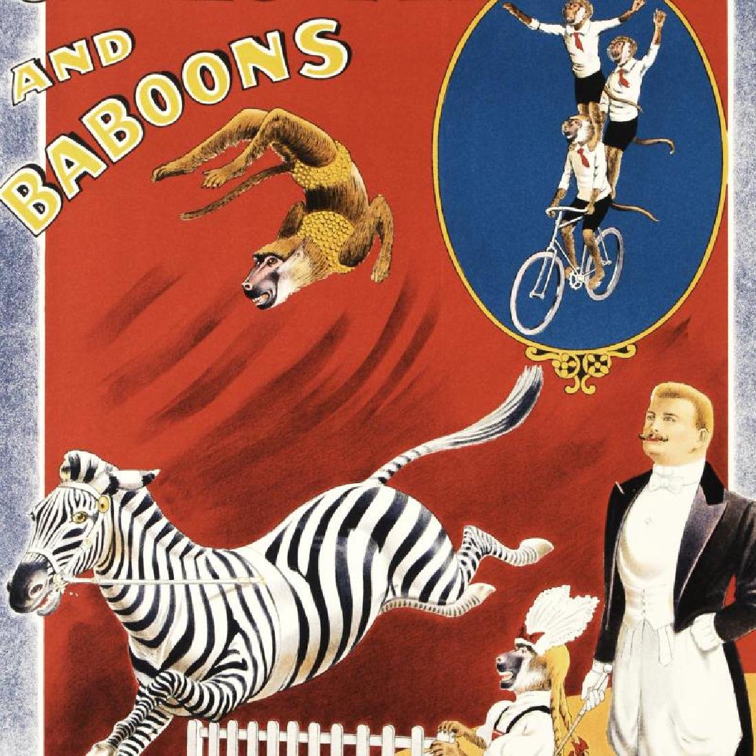 """Grais Zebra and Baboons"" Hand Pulled Lithograph by the - 4"
