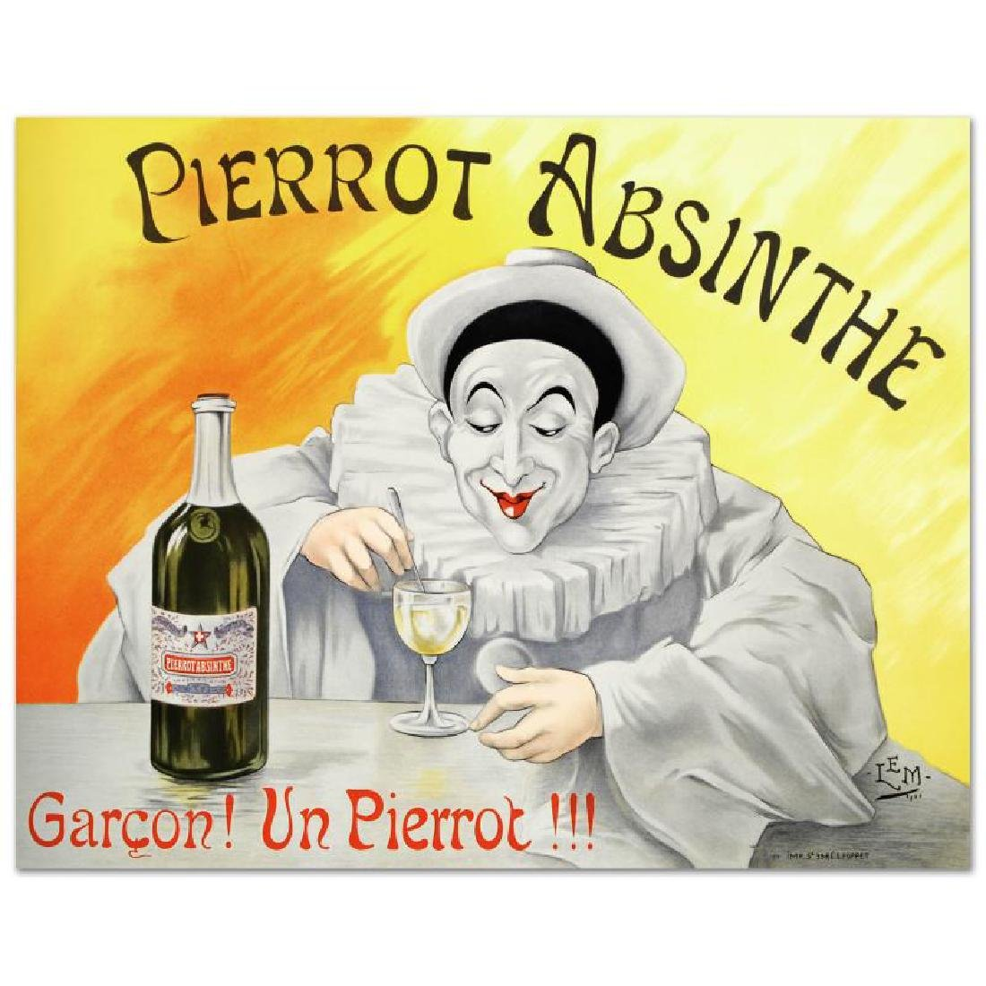 """Pierrot Absinthe"" Hand Pulled Lithograph by the RE"