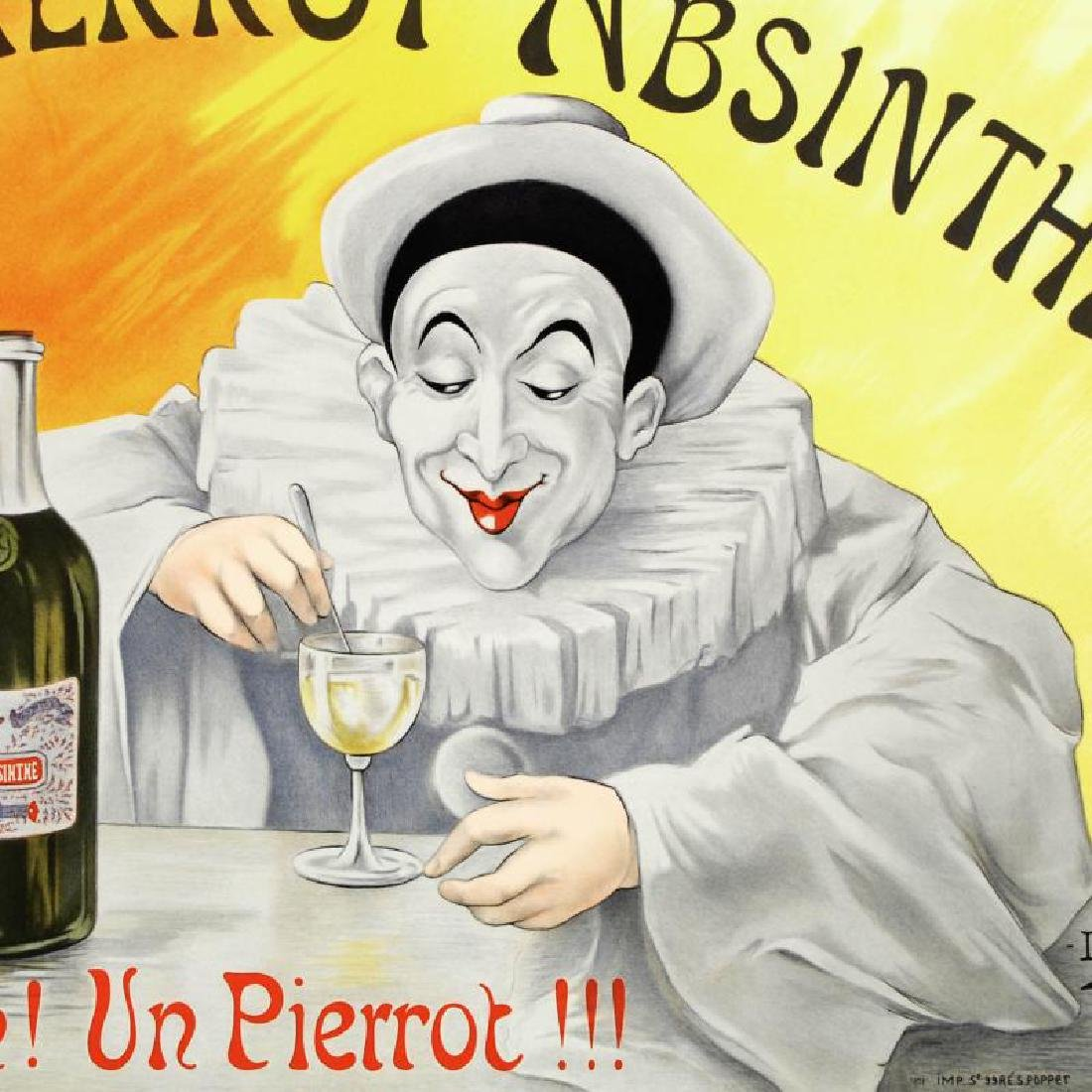 """Pierrot Absinthe"" Hand Pulled Lithograph by the RE - 2"