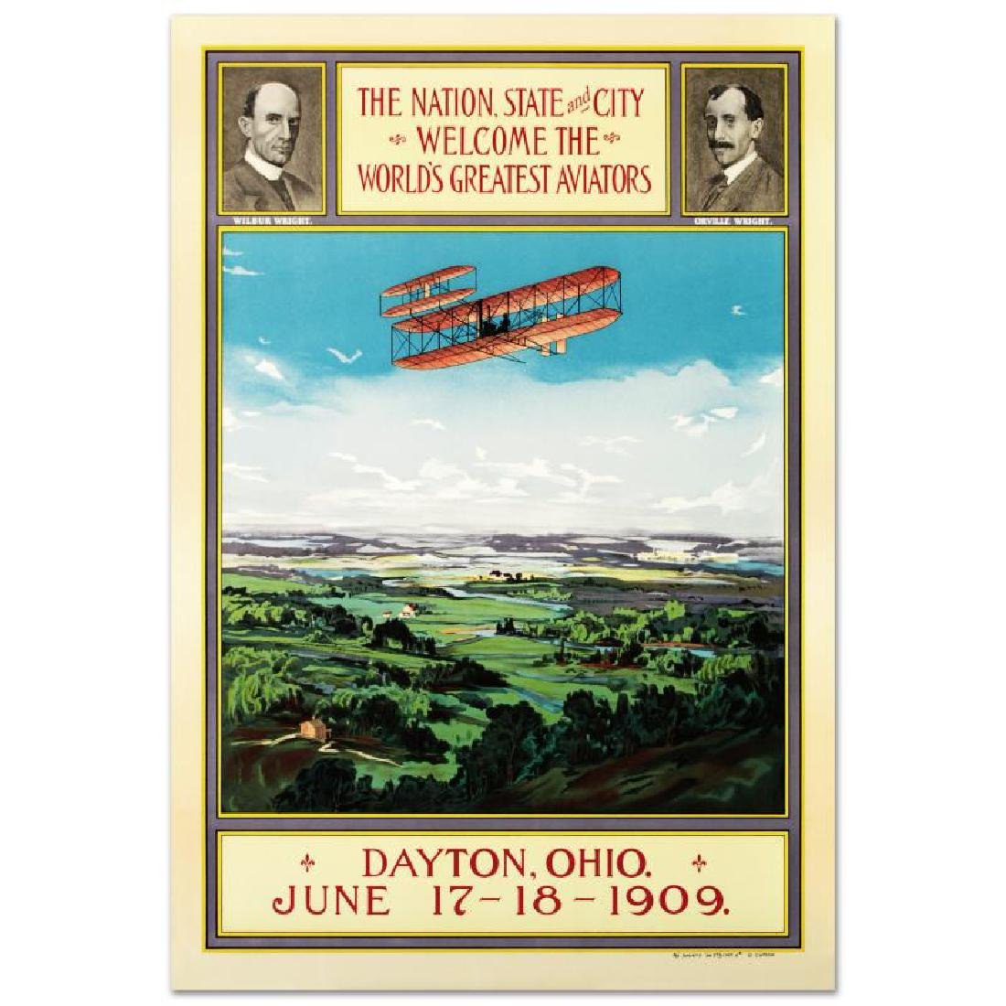 """Wright Brothers"" Hand Pulled Lithograph by the RE"
