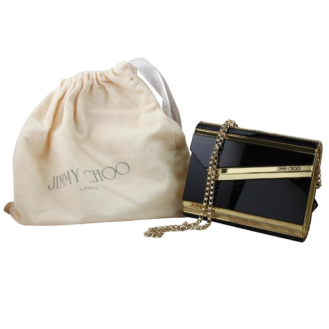NEW Jimmy Choo Candy Resin Clutch in Black and Gold