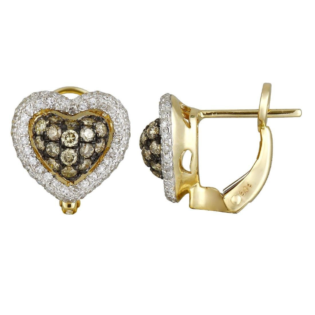 14KT Yellow Gold Diamond Earrings - 2