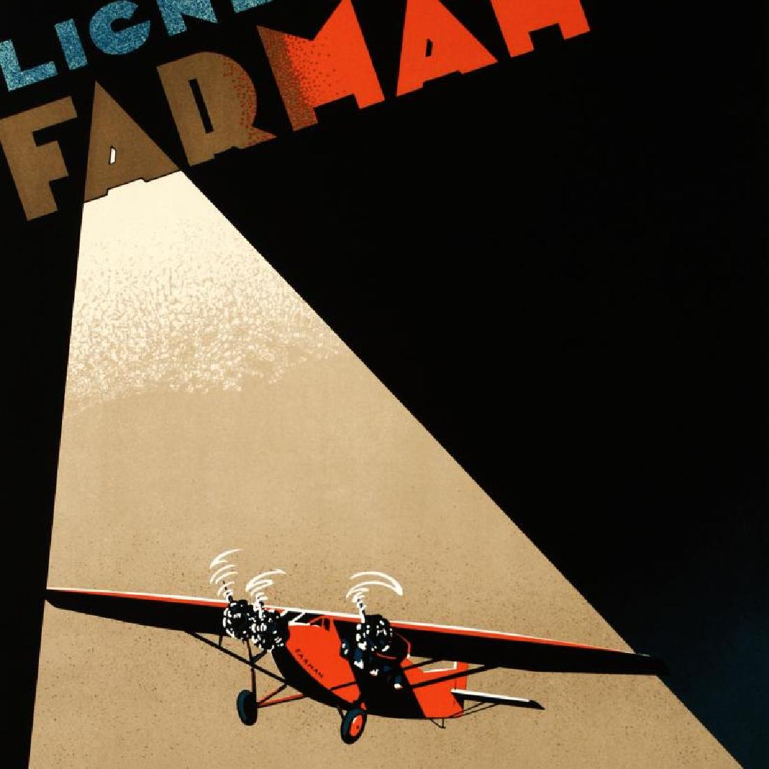 """Farman Airlines"" Hand Pulled Lithograph (22"" x 37"") by - 4"