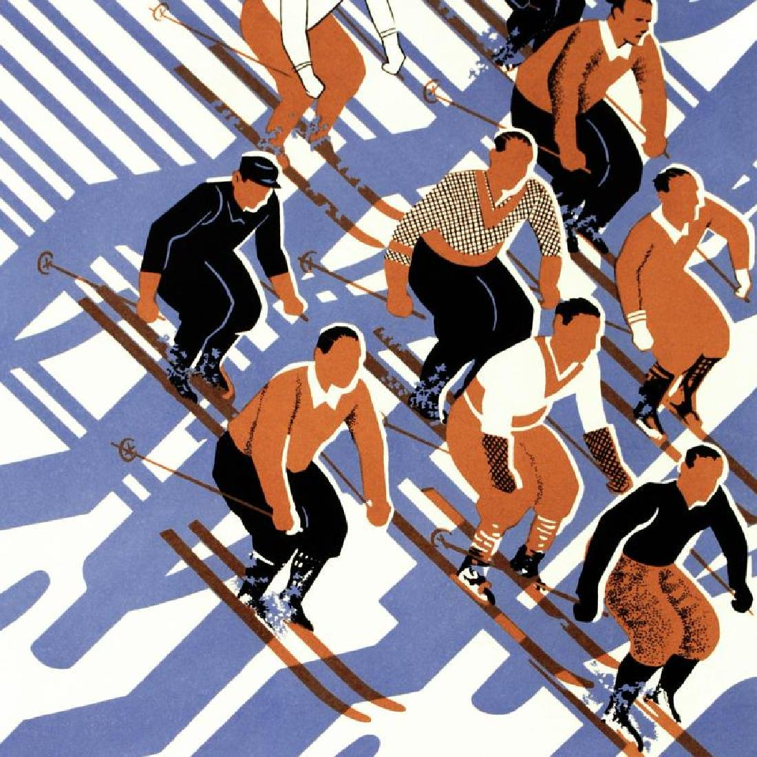"""Sports D'Hiver"" Hand Pulled Lithograph (24"" x 39"") by - 2"