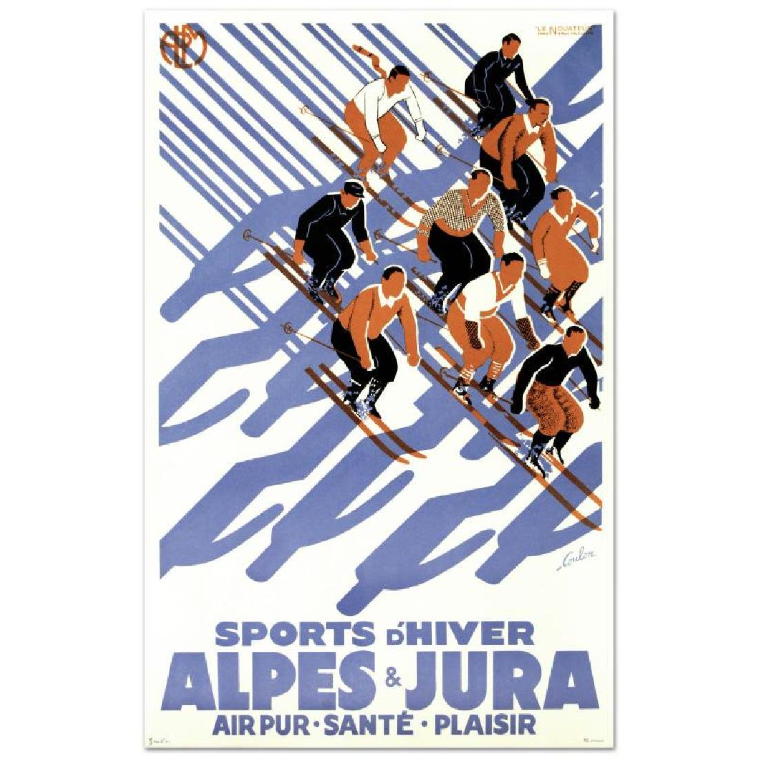 """Sports D'Hiver"" Hand Pulled Lithograph (24"" x 39"") by - 3"