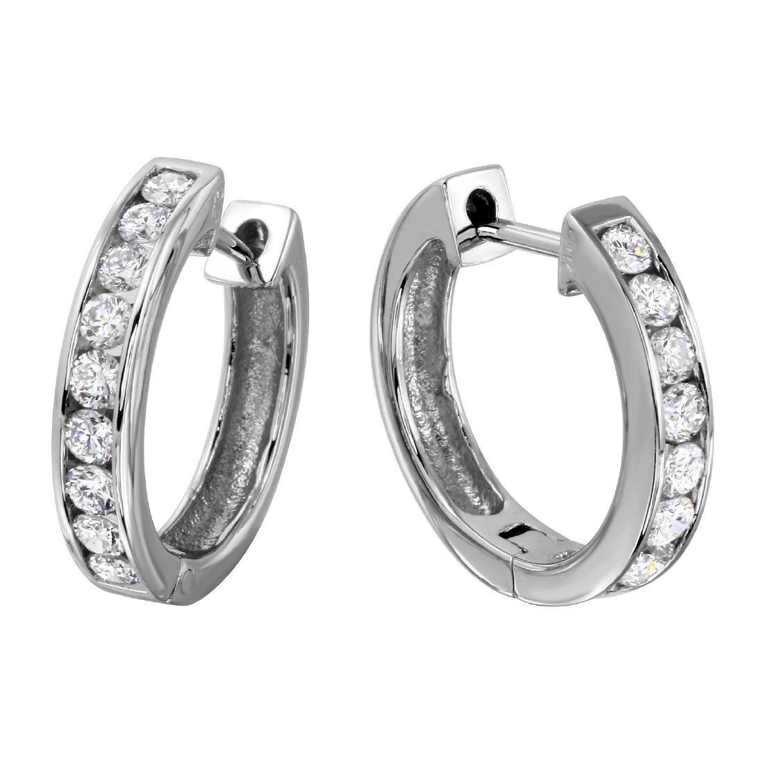 14KT White Gold Diamond Hoop Earrings - 2