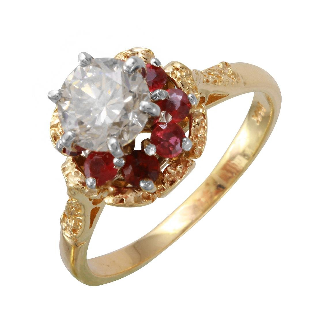 14KT Yellow Gold Diamond & Ruby Engagement Ring