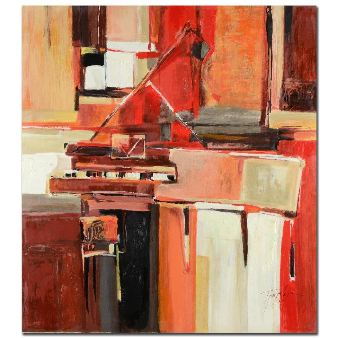 """""""Piano in Red"""" Limited Edition Serigraph on Wood Panel"""