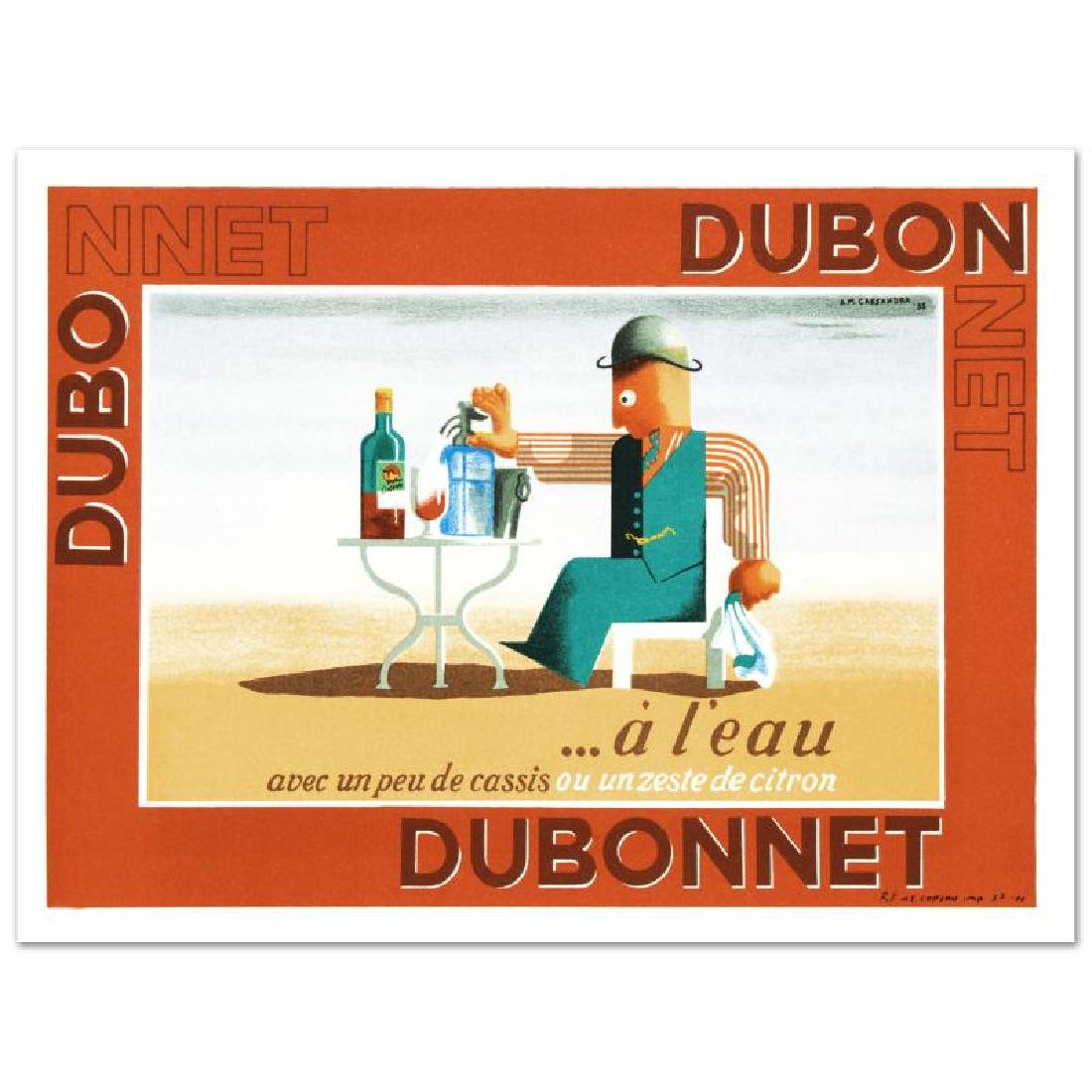 """Dubonnet.A Leau"" Hand Pulled Lithograph by the RE"