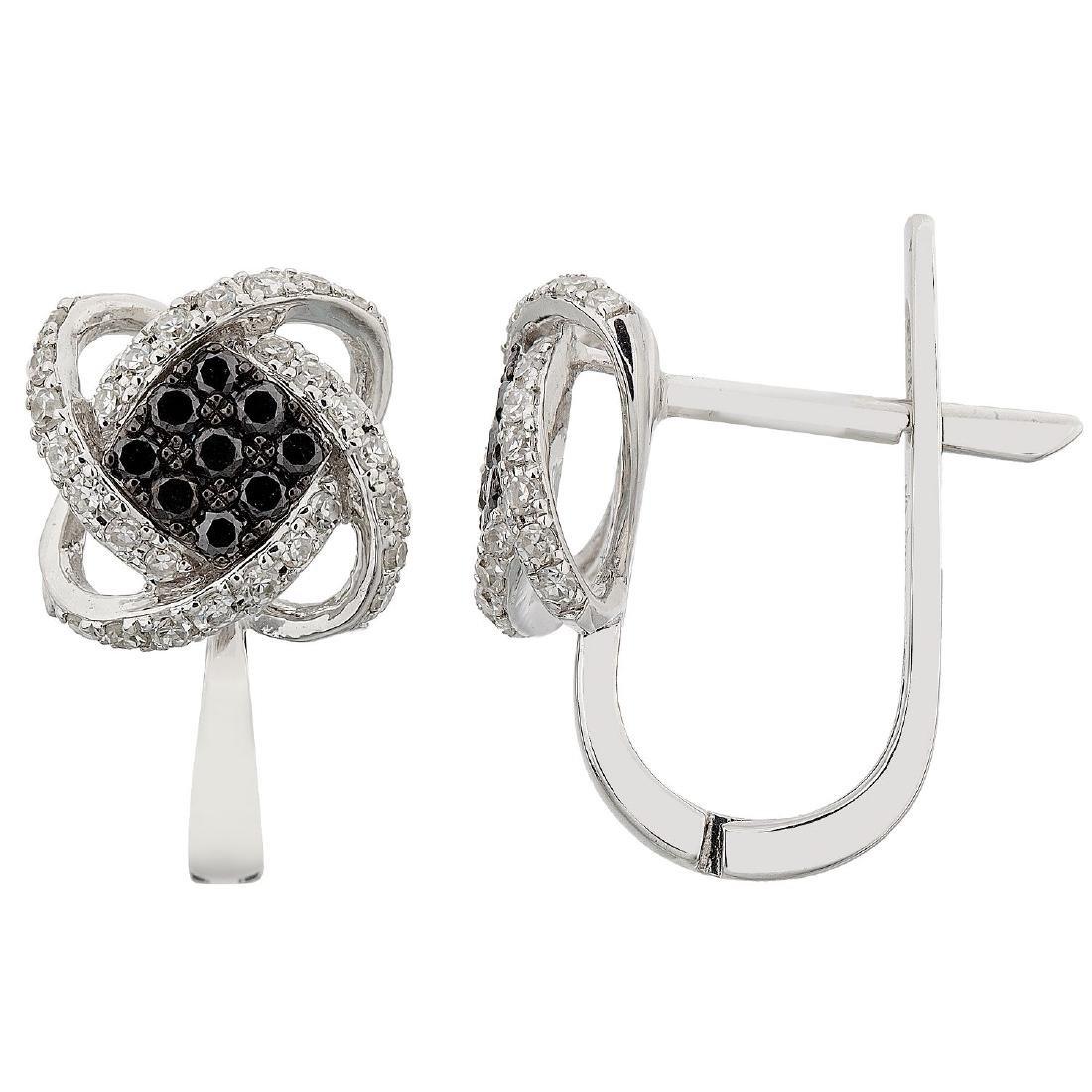 14KT White Gold Diamond Earrings - 2