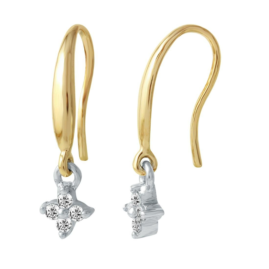 14KT Two Tone Gold Diamond Earrings