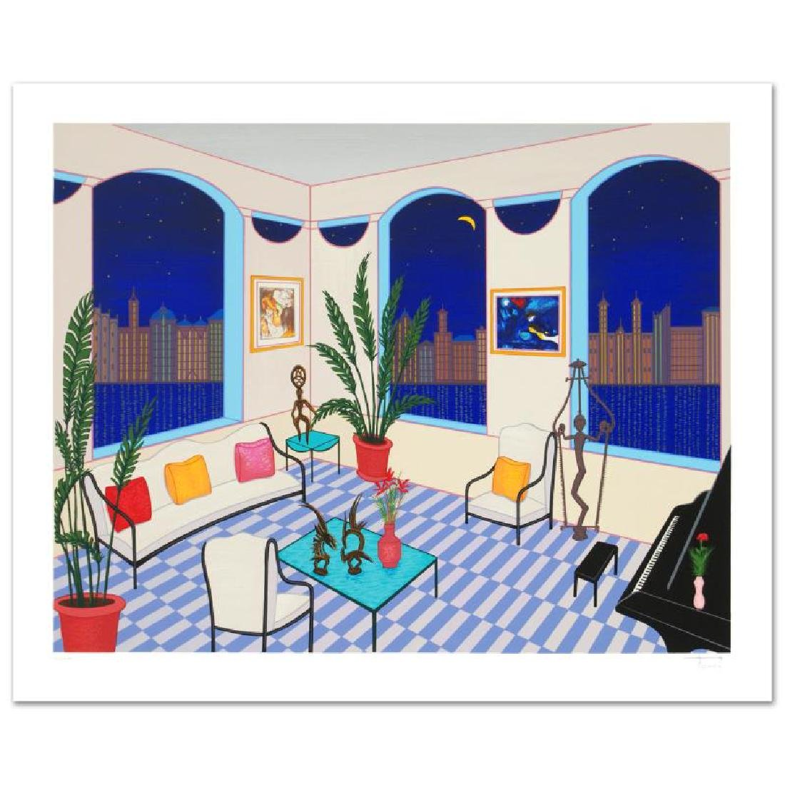 Interior with Primitive Art Limited Edition Serigraph