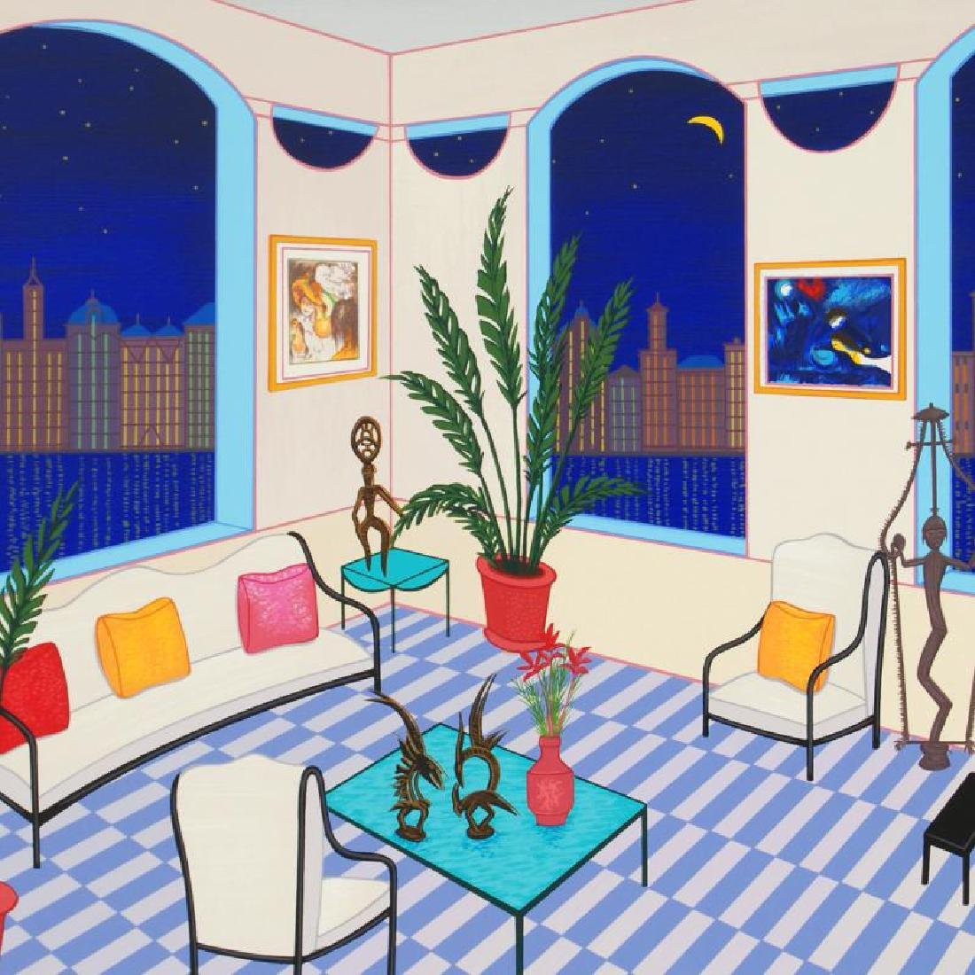 Interior with Primitive Art Limited Edition Serigraph - 4