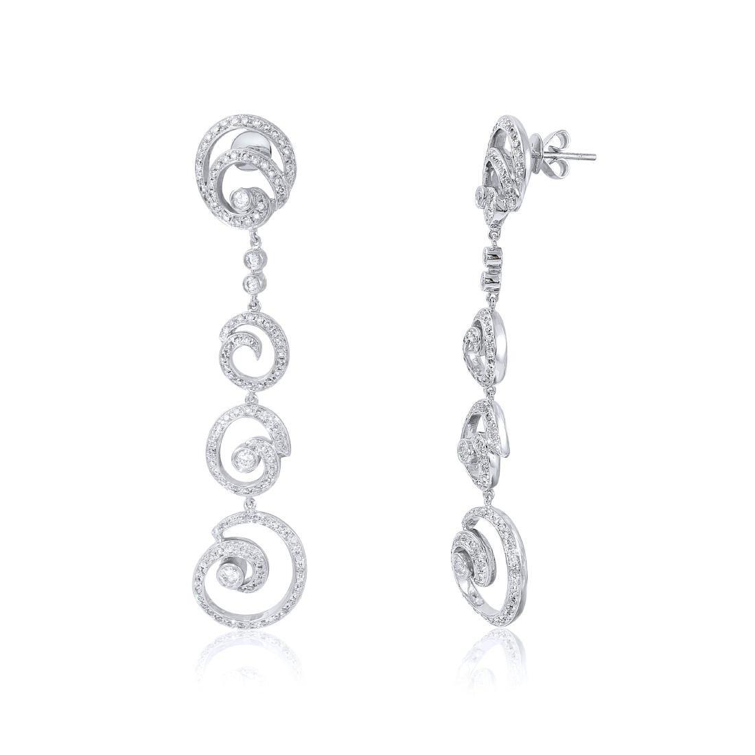 14KT White Gold Diamond Dangle Earrings - 2