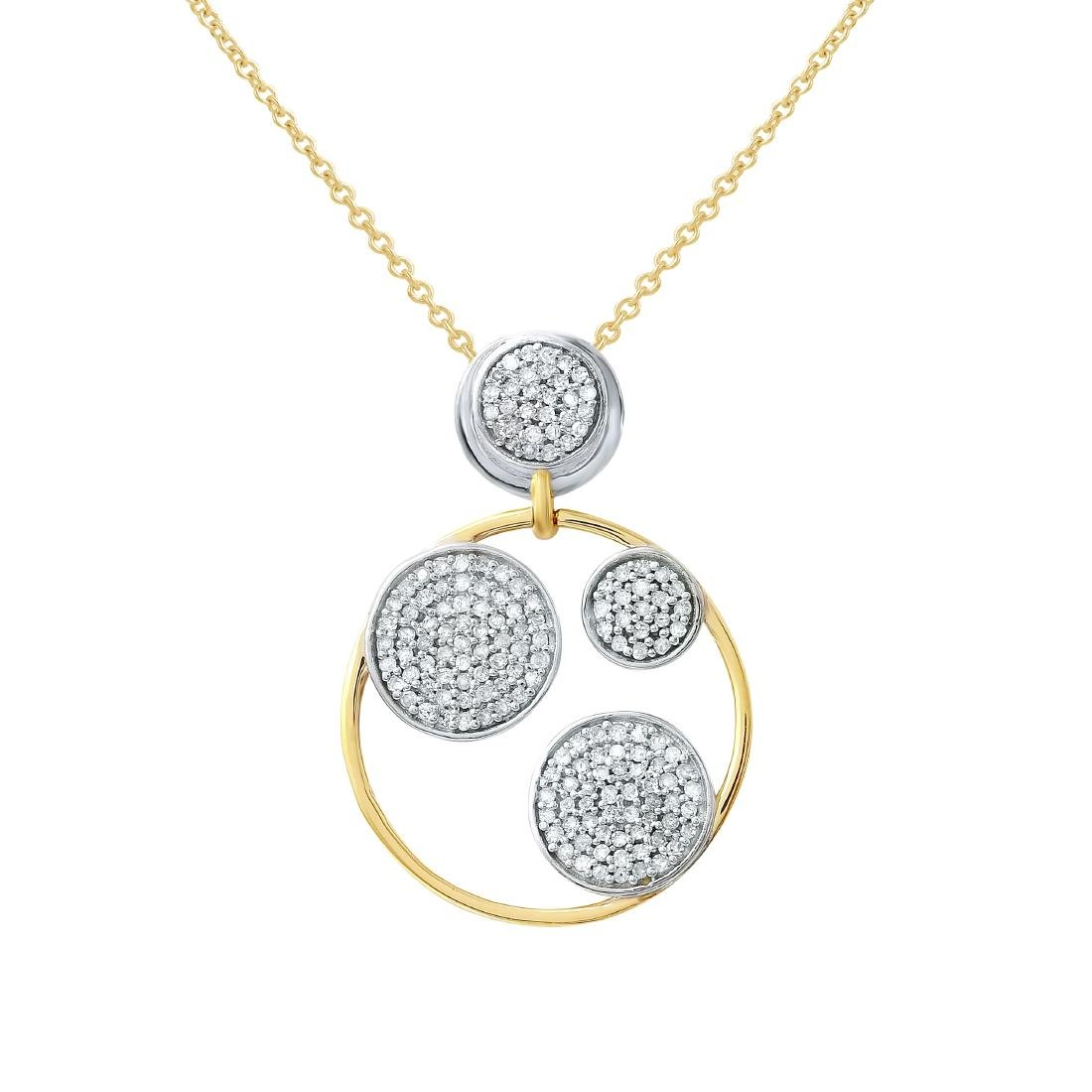 14KT Two Tone Gold Ladies Slider with Chain
