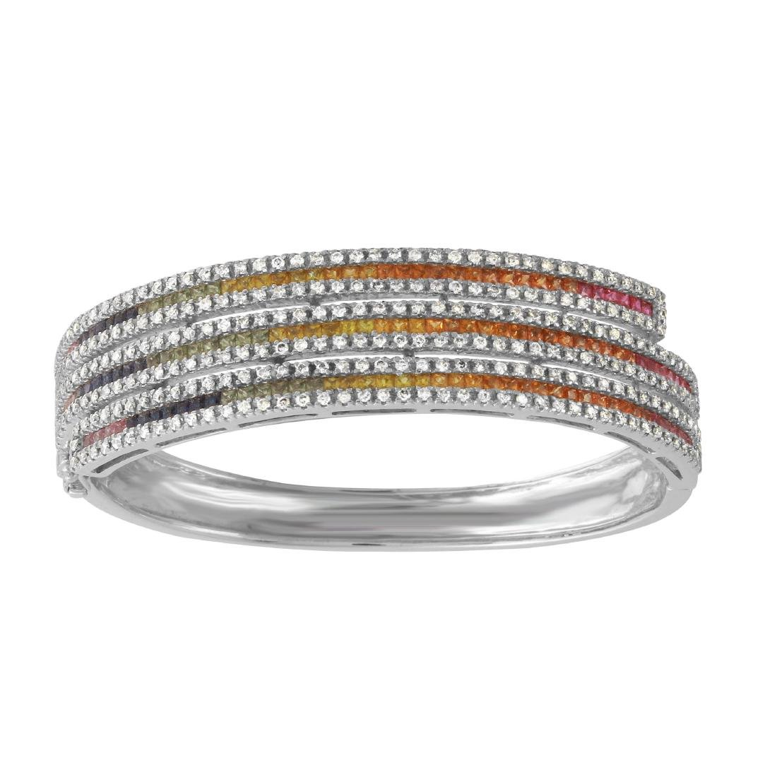 14KT White Gold Multi-Sapphire Bangle