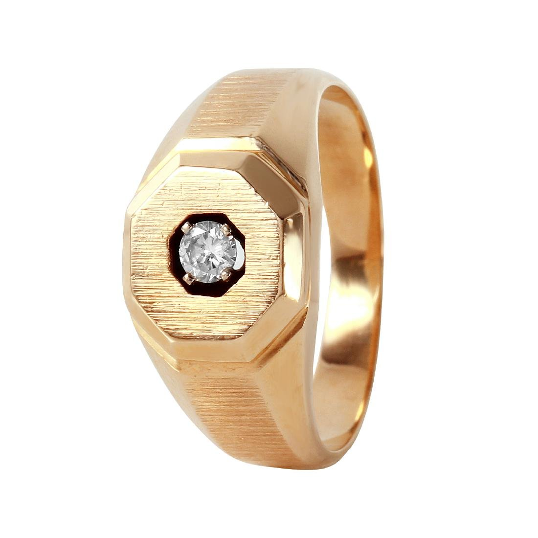 14KT Yellow Gold Men's Diamond Solitaire Ring