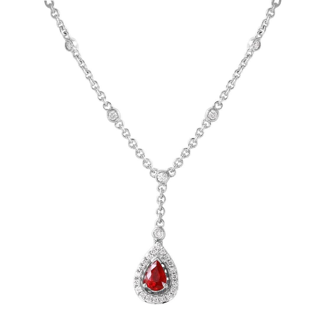 14KT White Gold Ruby & Diamond Necklace - 3