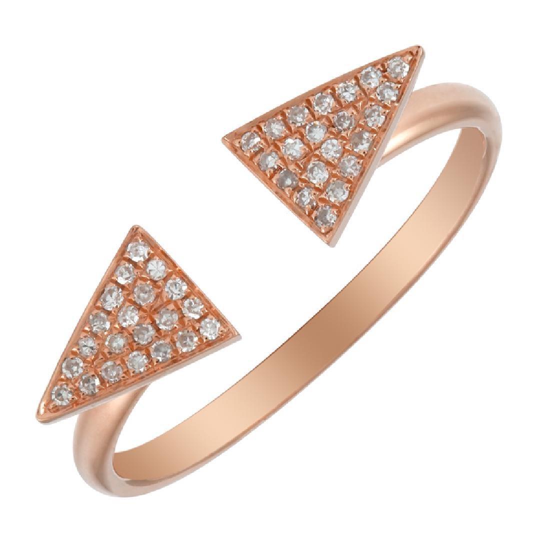 14KT Rose Gold Women's Diamond Ring - 2