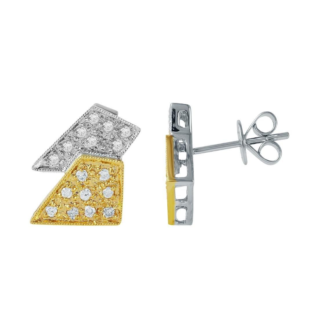 14KT Two Tone Gold Diamond Stud Earrings - 3