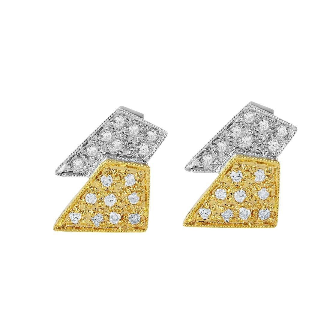 14KT Two Tone Gold Diamond Stud Earrings - 4