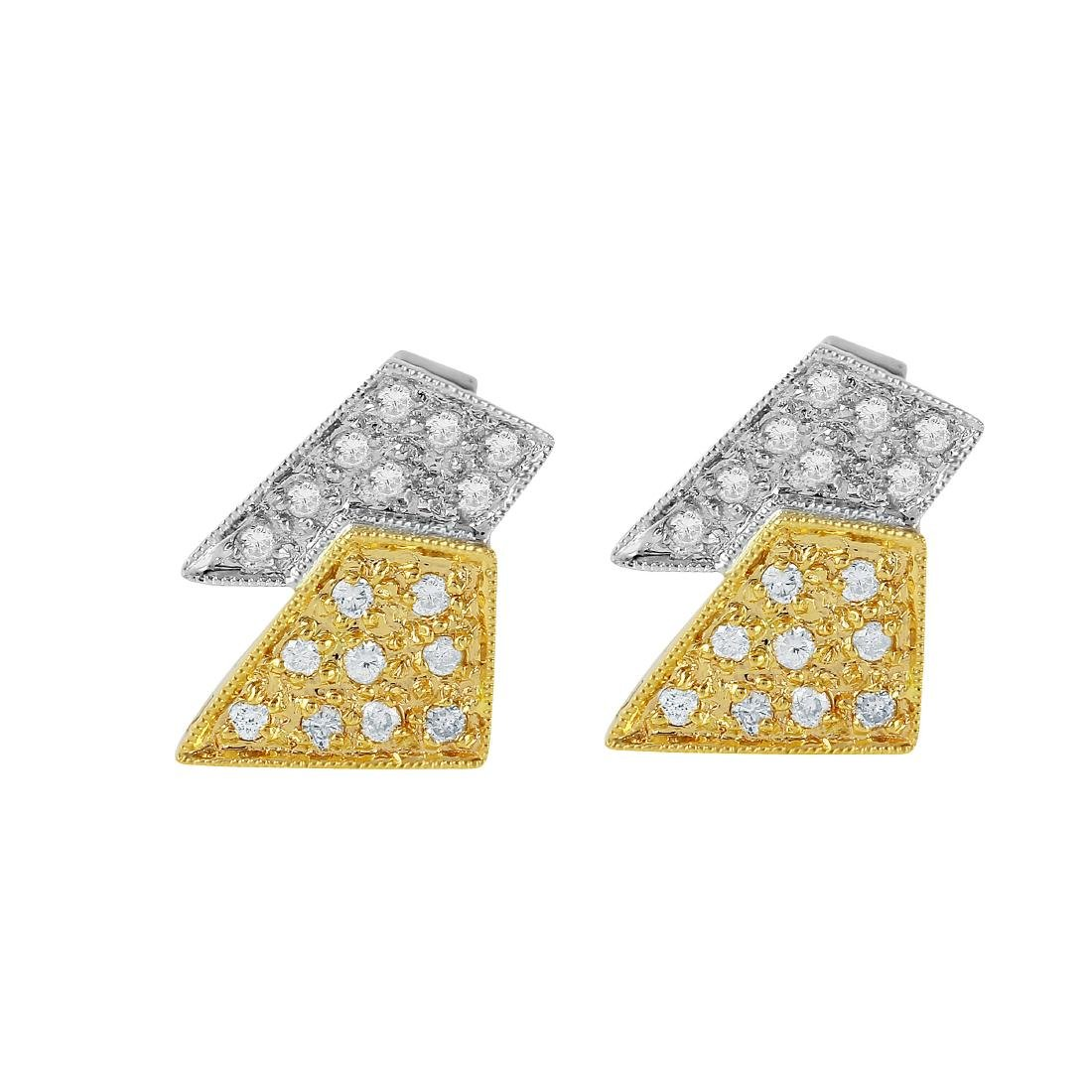 14KT Two Tone Gold Diamond Stud Earrings - 4