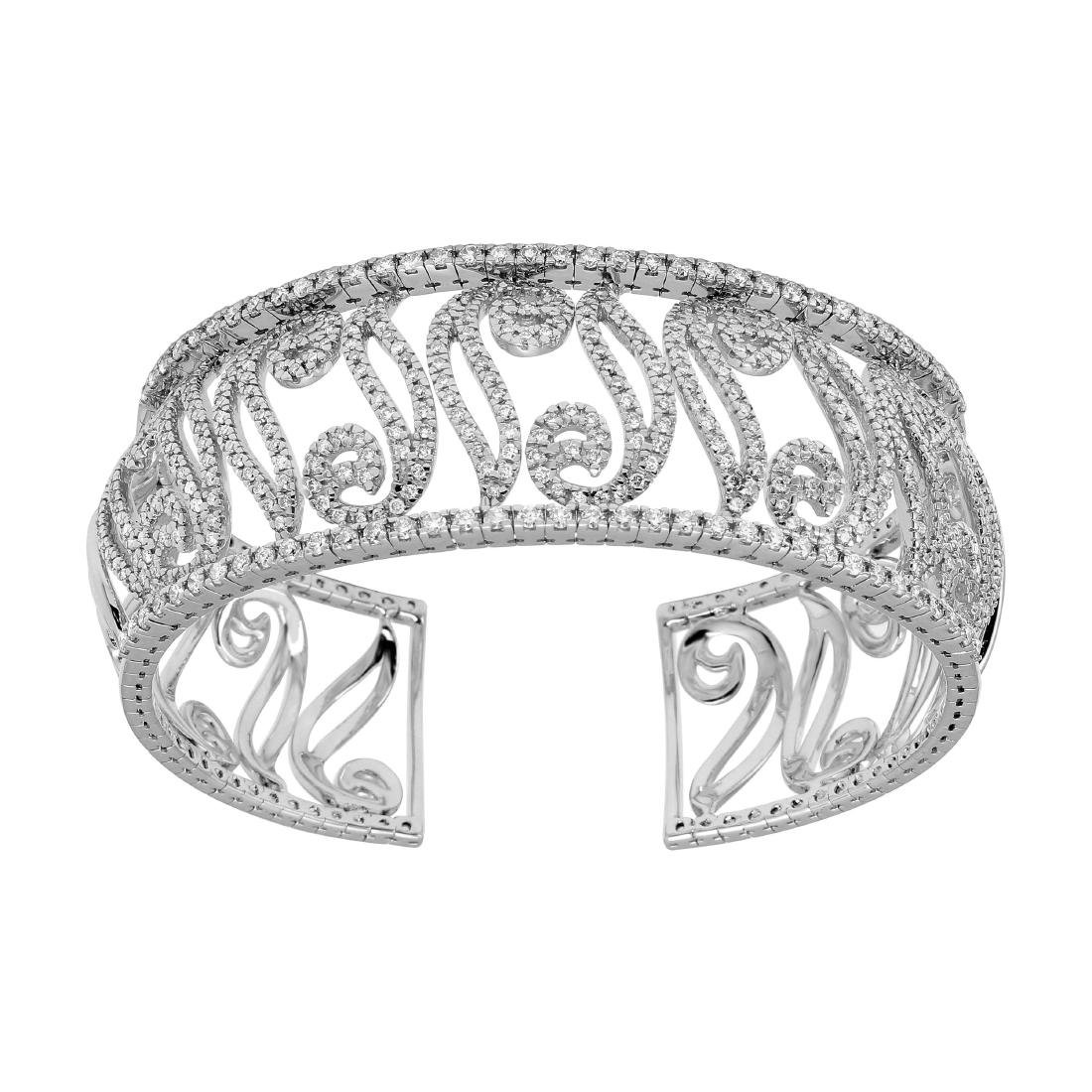 14KT White Gold Diamond Cuff Bracelet