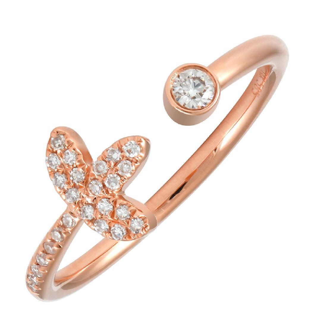 14KT Rose Gold Women's Diamond Ring - 2