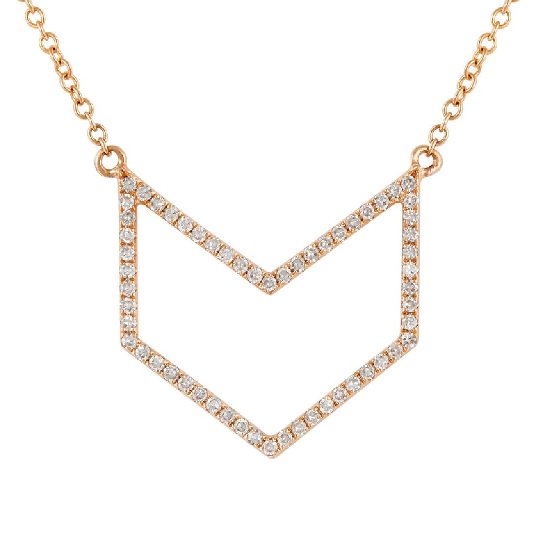 14KT Rose Gold Diamond Necklace - 2