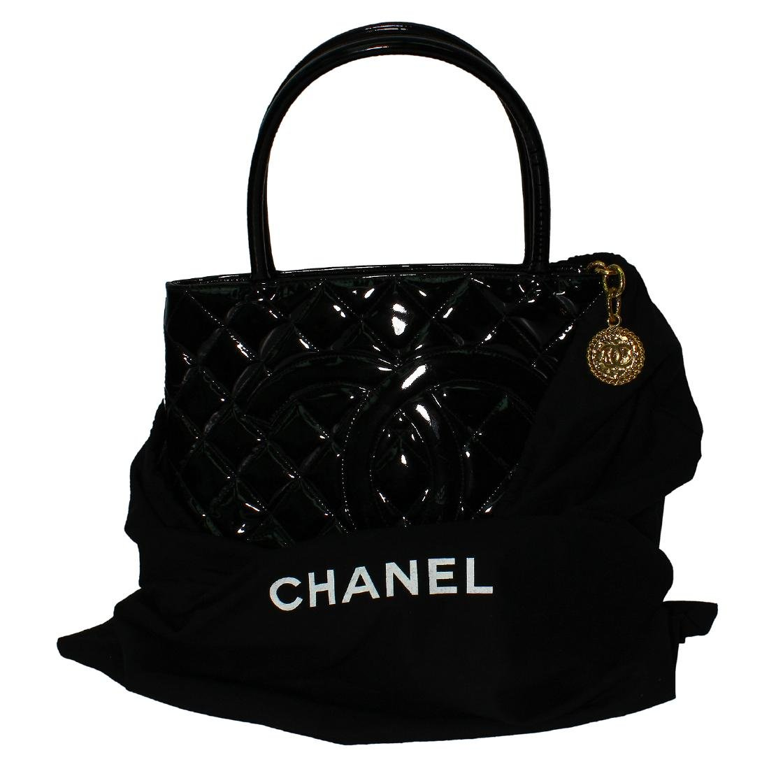 Chanel Quilted Black Patent Leather Shoulder Bag - 2
