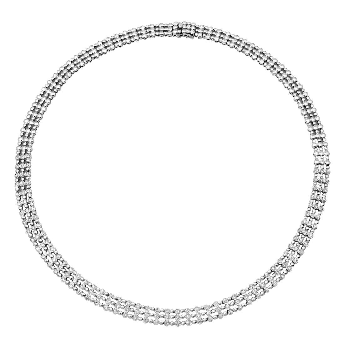 18KT White Gold Diamond Bezel Necklace
