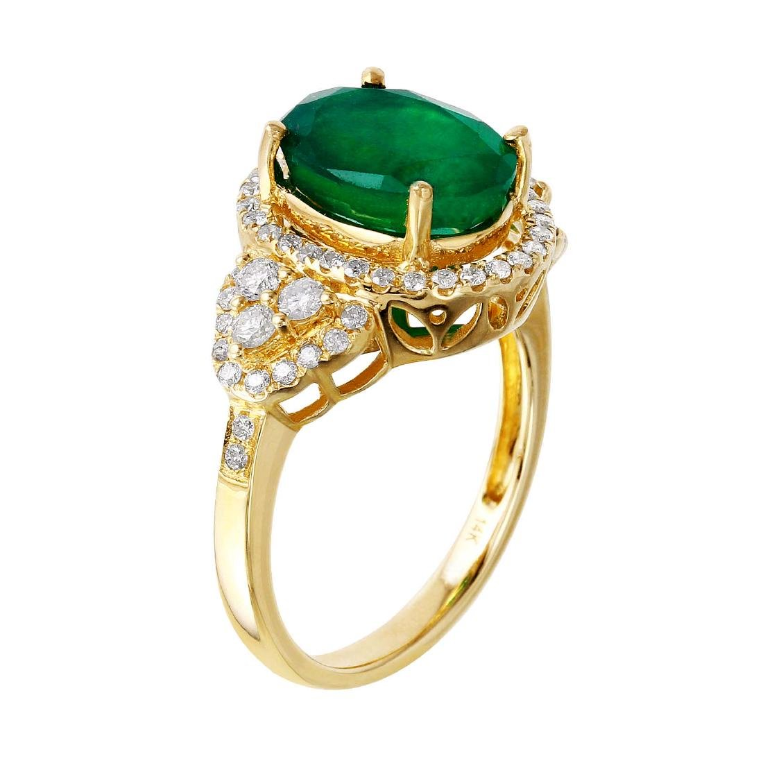 14KT Yellow Gold Emerald and Diamond Ring - 4