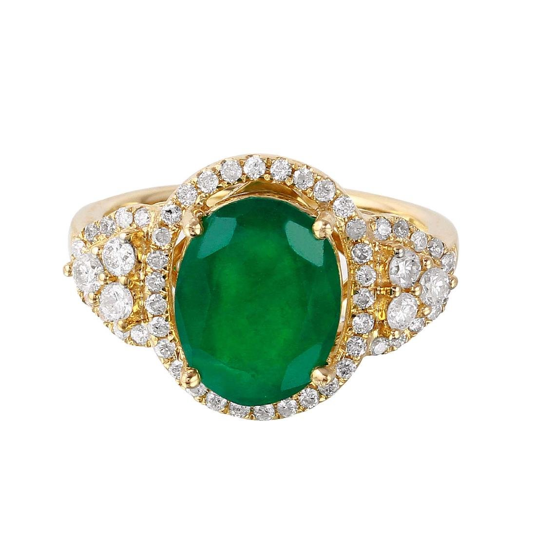 14KT Yellow Gold Emerald and Diamond Ring - 6