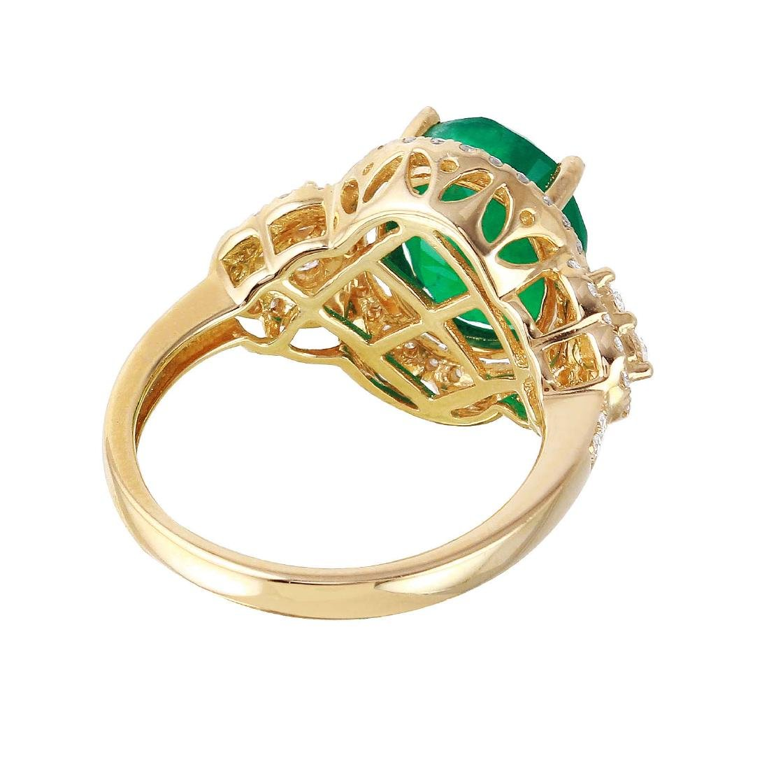 14KT Yellow Gold Emerald and Diamond Ring - 7