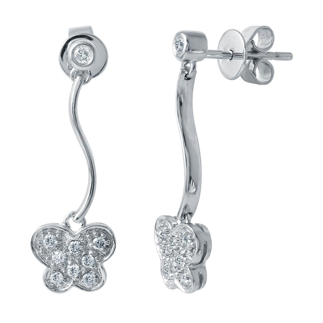 14KT White Gold Diamond Butterfly Earrings