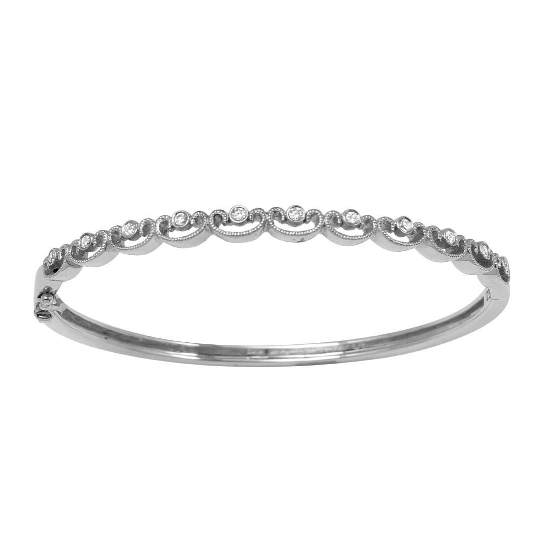 18KT White Gold Diamond Bangle Bracelet